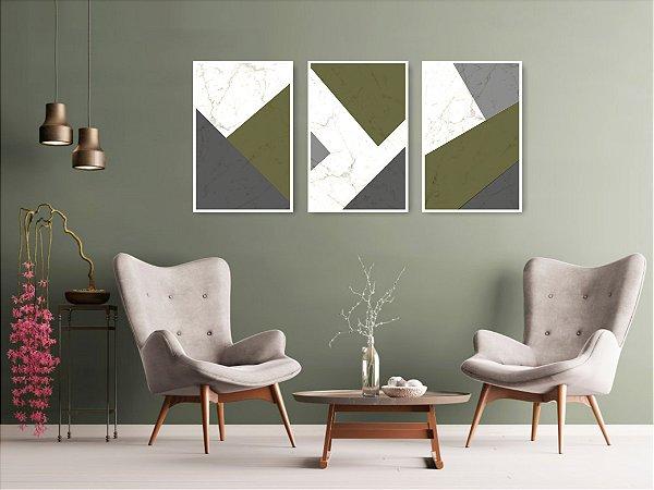 Quadro Decorativo Cimento Verde 115x57 Sala Quarto