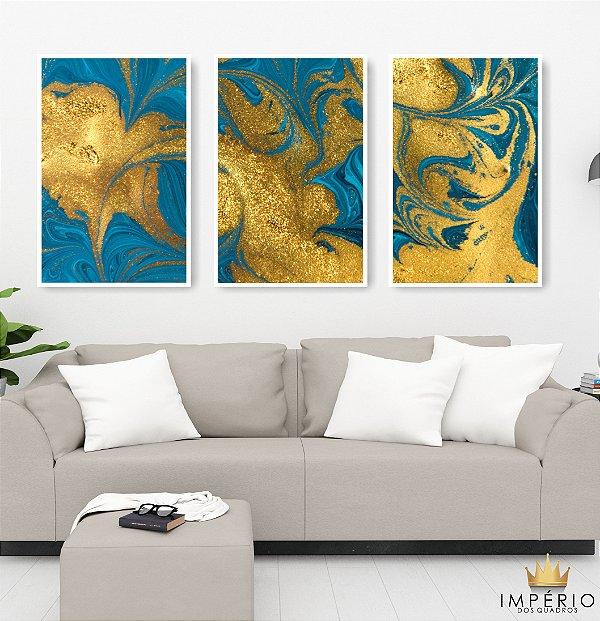 Quadro Decorativo Abstrato Gold Azul 115x57 Sala Quarto