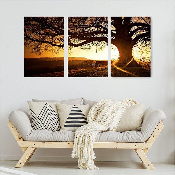 Quadro Decorativo Árvore Grande Nascer Do Sol 3P Sem Moldura 115x57 Sala Quarto