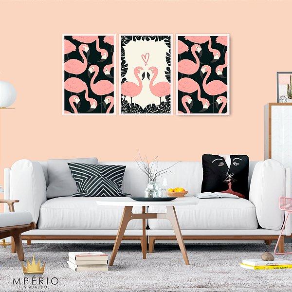 Quadro Decorativo Flamingos Apaixonados 115x57 Sala Quarto