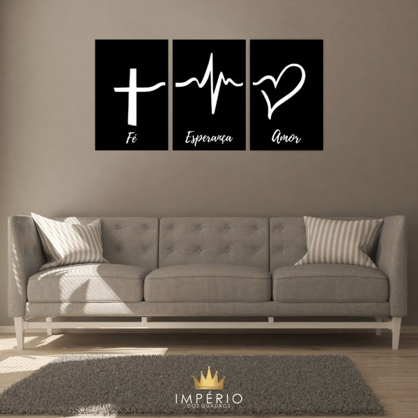 Quadro Decorativo Fé Esperança Amor 115x57 Sala Quarto