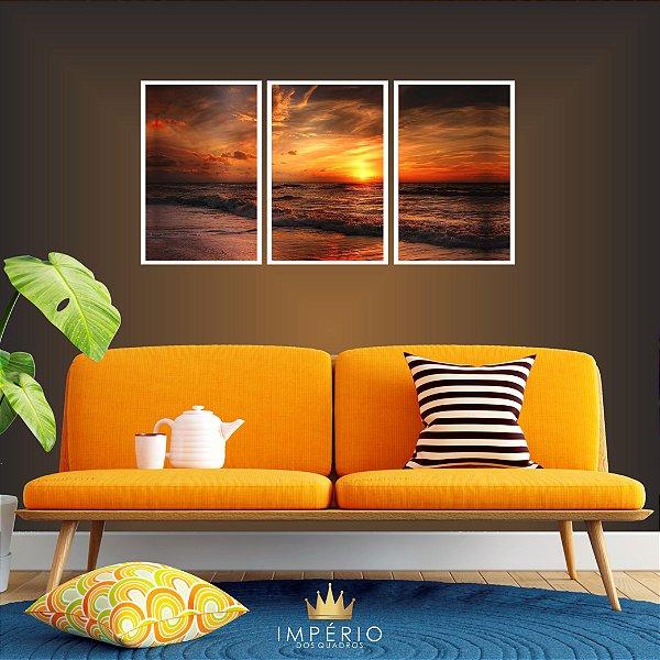 Quadro Decorativo Pôr Do Sol Laranja Mar 115x57 Sala Quarto