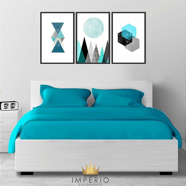 Quadro Decorativo Formas Geométricas Azul 115x57 Sala Quarto