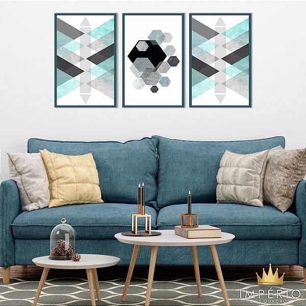 Quadro Decorativo Abstrato Azul Preto Cinza 115x57 Sala Quarto