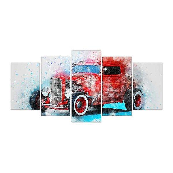 Quadro Decorativo Carro Antigo 08 Mosaico 129x61 5pc