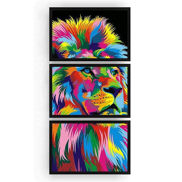Quadro Decorativo Leão Color Print 3PV 60x124