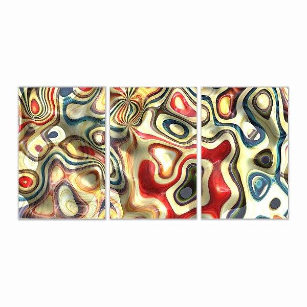 Quadro Decorativo Abstrato kaleidoscope 3P Sem Moldura 115x57