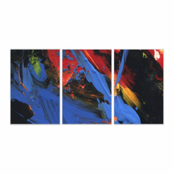 Quadro Decorativo Abstrato Paint 3P Sem Moldura 115x57