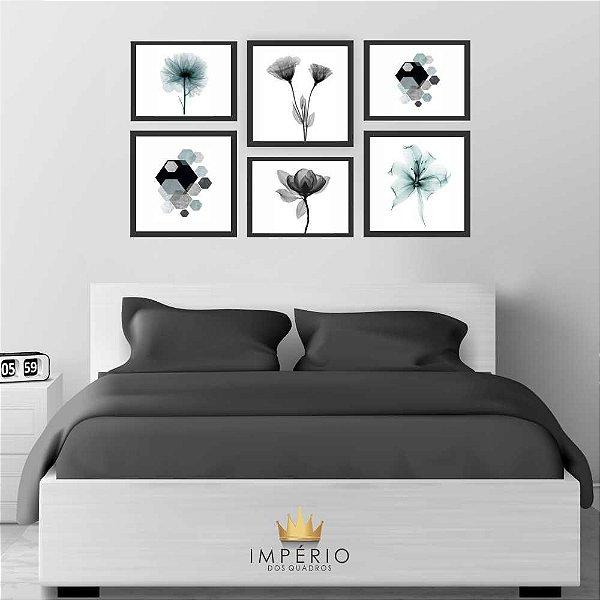 Quadro Decorativo Flores Composição 64x37 6pc