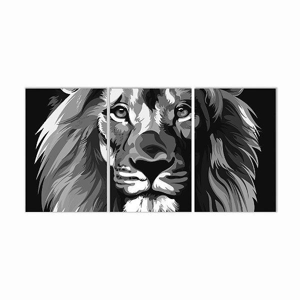 Quadro Decorativo Leão Preto e Branco 3P 115x57