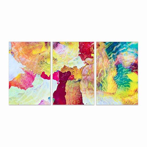 Quadro Decorativo Abstrato Aquarela 3P 115x57