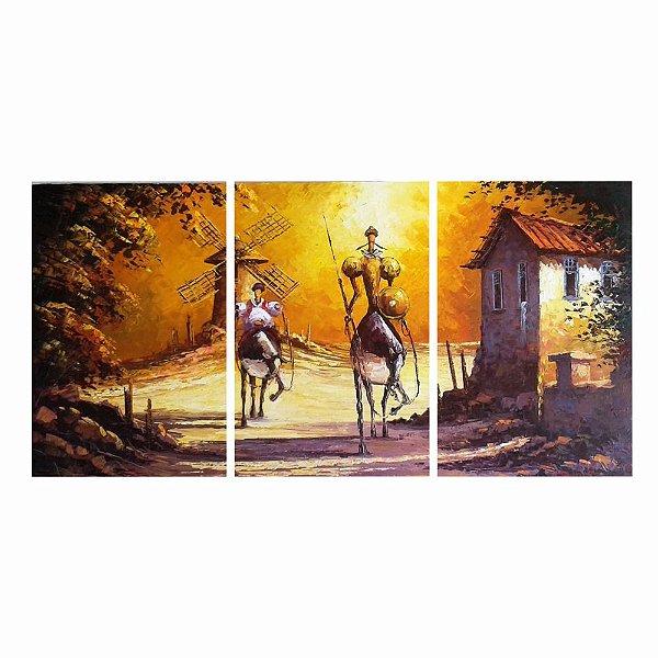 Quadro Decorativo Dom Quixote 124 x 60 3pc