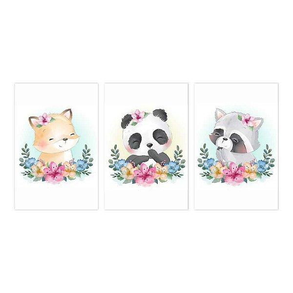 Quadro Decorativo Ursos Kids 3P 115x57