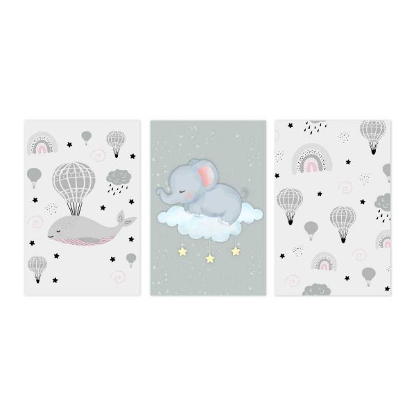 Quadro Decorativo Elefante Kids 3P 115x57
