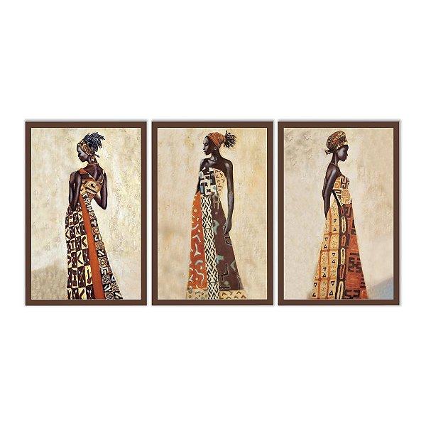 Quadro Decorativo Africanas 3P Sem Moldura 115x57