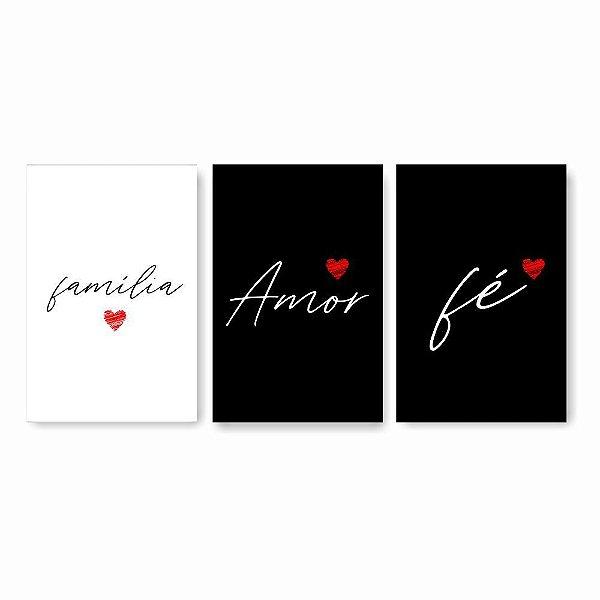 Quadro Decorativo Família Amor e Fé 4 3P 115x57