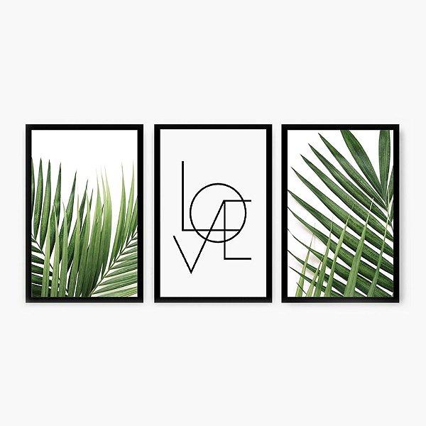 Quadro Decorativo Palmeira e Love 3P  124x60