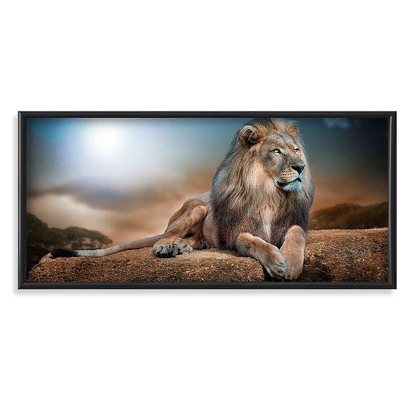 Quadro Decorativo Leão Dourado