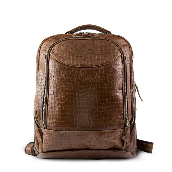 Mochila Stockton  Confort Croco Marron