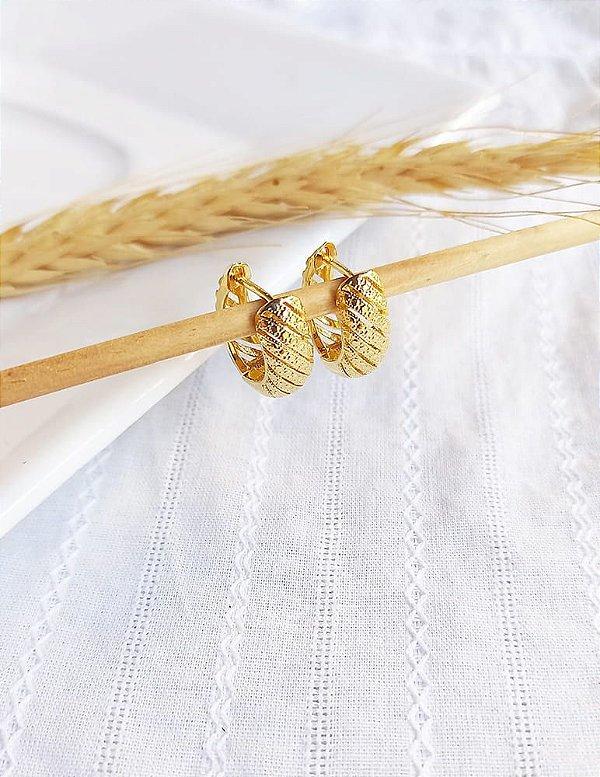 Brinco argola articulada espiral Fernanda banhado a ouro 18k