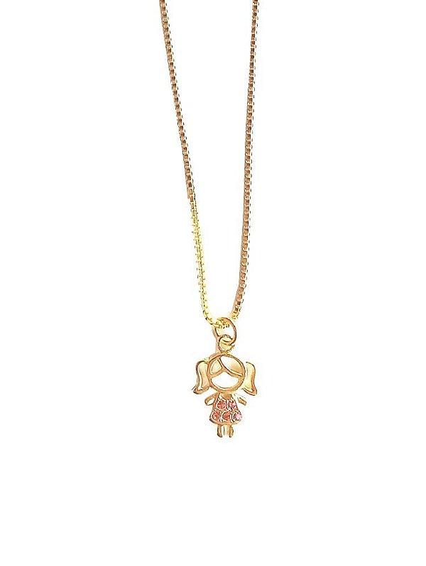 Colar pingente menina zircônias rosa banhado em ouro 18k