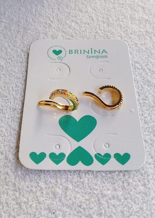 Piercing fake microcravejado zircônias coloridas banhado a ouro 18k