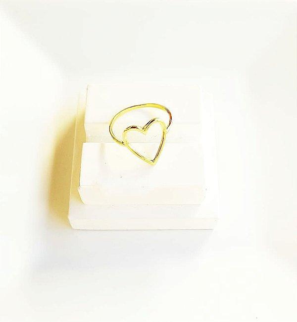 Anel coração vazado Bela  banhado em ouro 18k