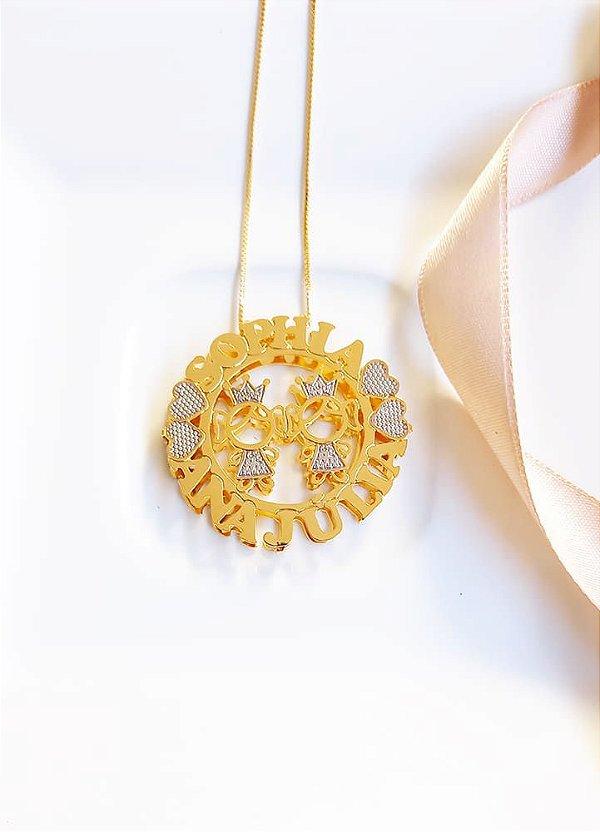 Colar mandala realeza personalizado Sophia e Ana Júlia banhado a ouro 18k