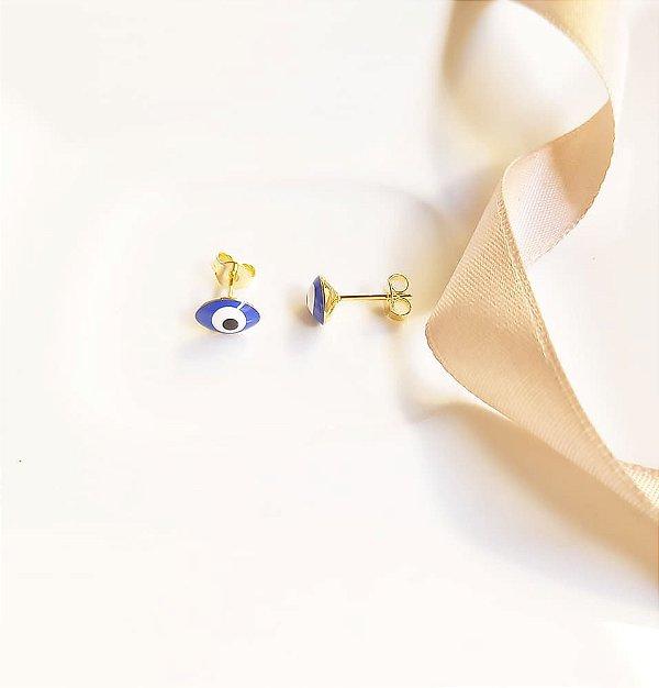 Brinco gota olho grego azul Luz banhado a ouro 18k