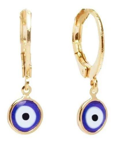 Brinco click olho grego azul Luz banhado a ouro 18k