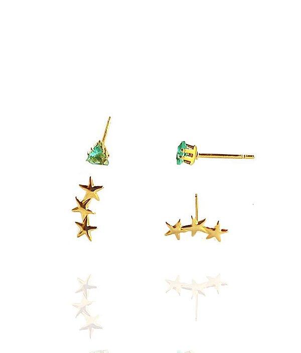 Kit de brincos mini ear cuff e ponto luz retangular turmalina banhados a ouro 18k
