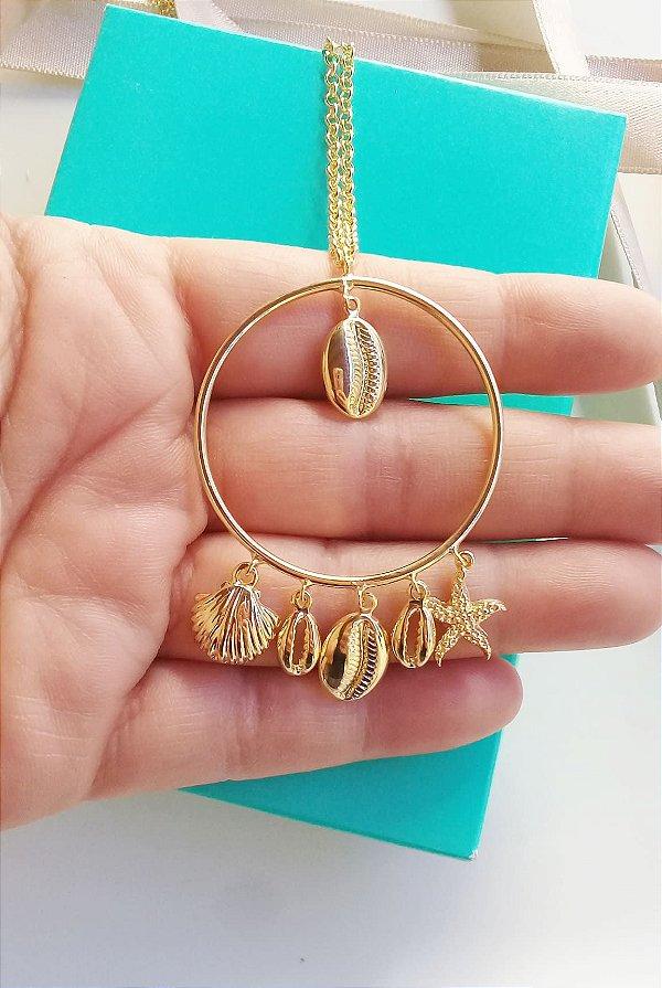 Colar Mar aro redondo com pingentes pendentes 60 cm folheado em ouro 18k