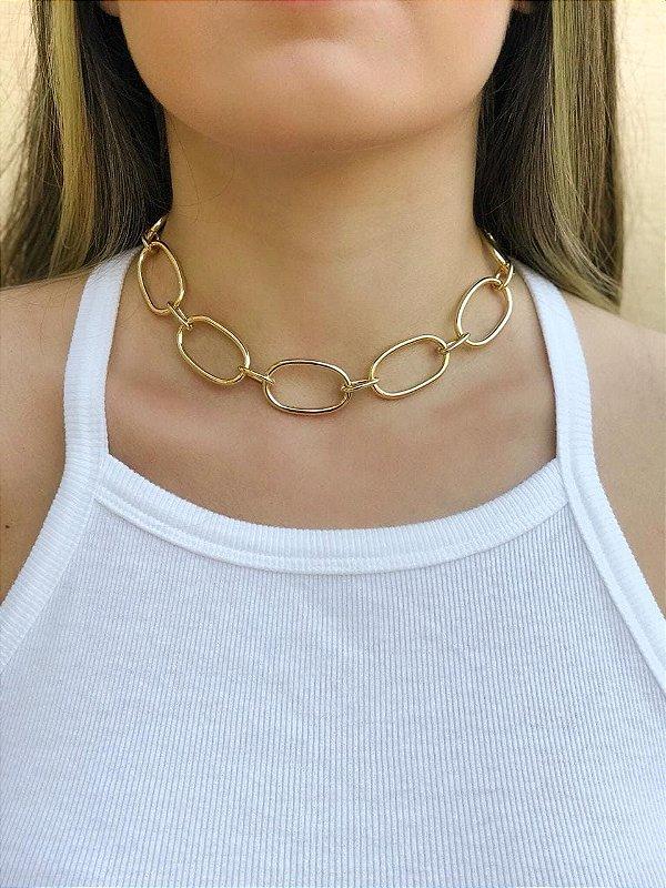 Choker elos correntes fashion banhada a ouro 18k