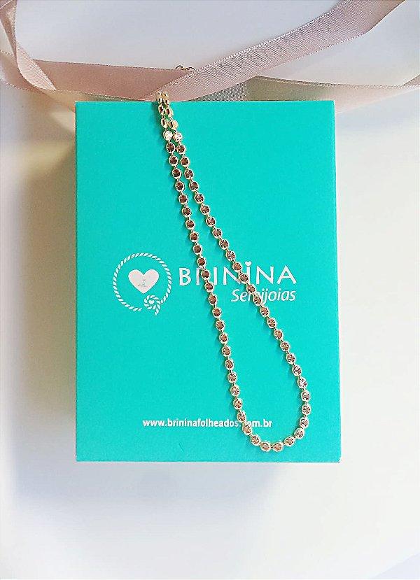 Choker diamantada mini bolinhas Helen folheado em ouro 18k
