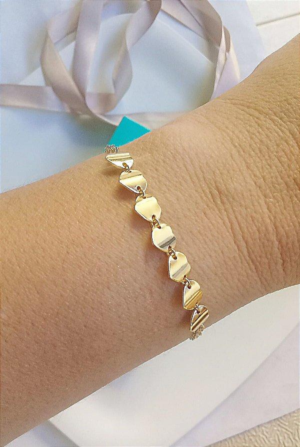 Pulseira 7 corações dobrados chapado Nina banhada em ouro 18k
