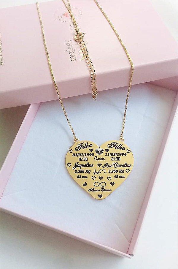 Mandala maternidade coração banhada a ouro 18k (enviar dados por por email)