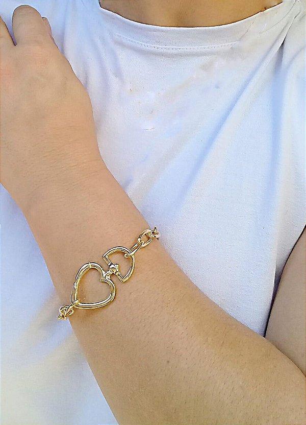 Pulseira coração na frente moda banhada em ouro 18k