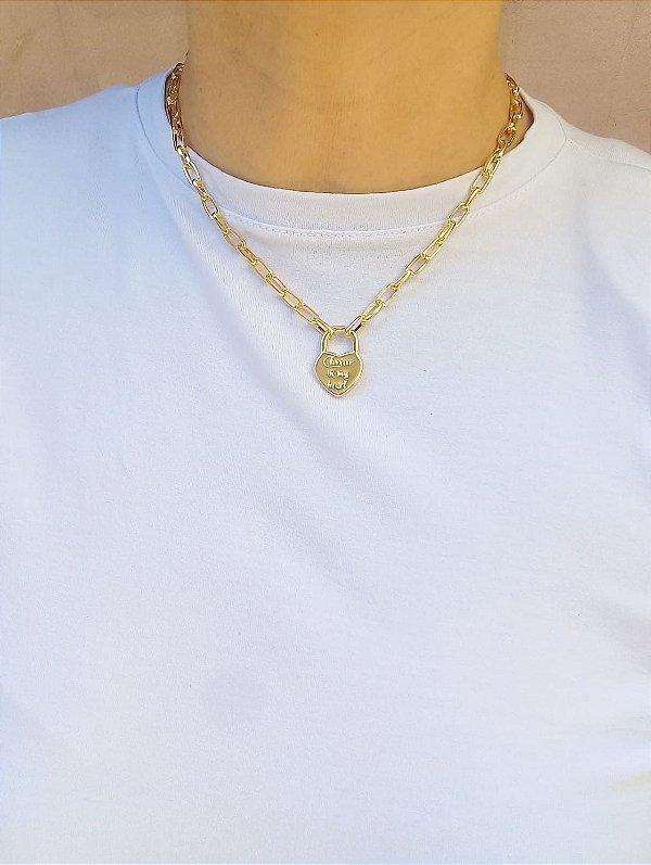 Choker pingente coração fashion banhada em ouro 18k