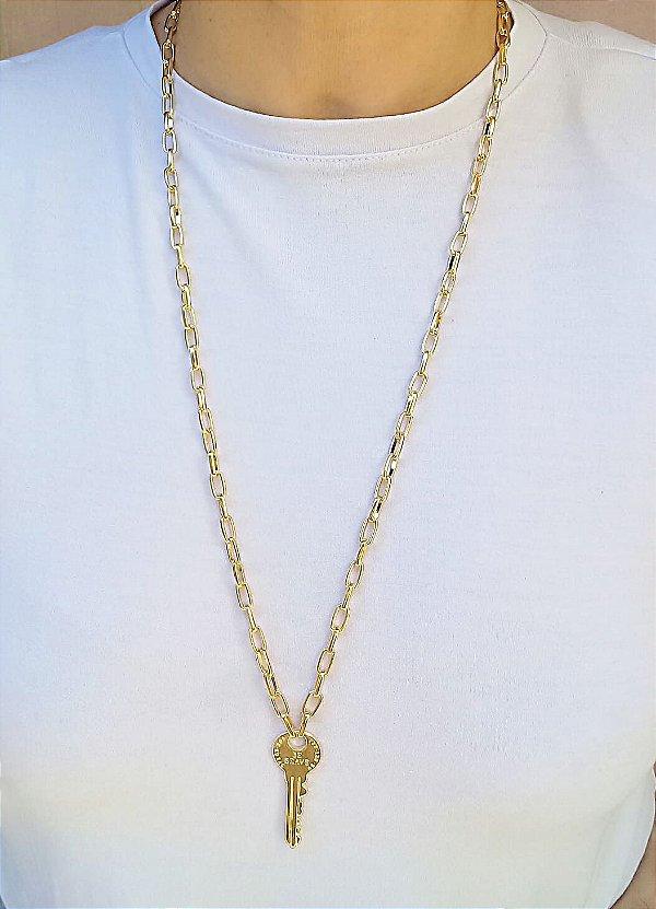Colar elos pingente chave Be Brave fashion banhada a ouro 18k