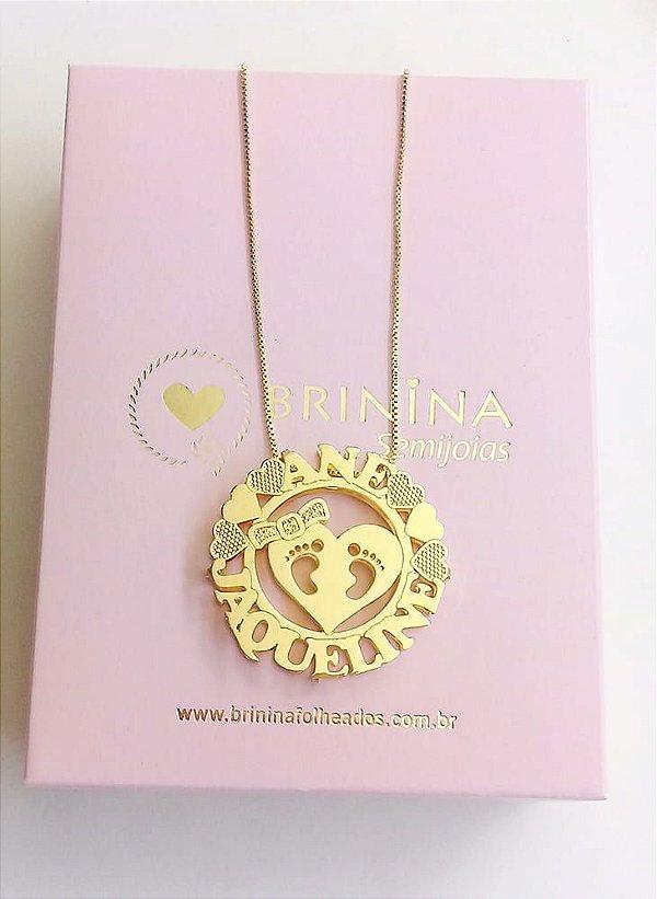 Mandala com nome dos filhos pézinho banhada a ouro 18k (pz entrega 45 dias úteis)