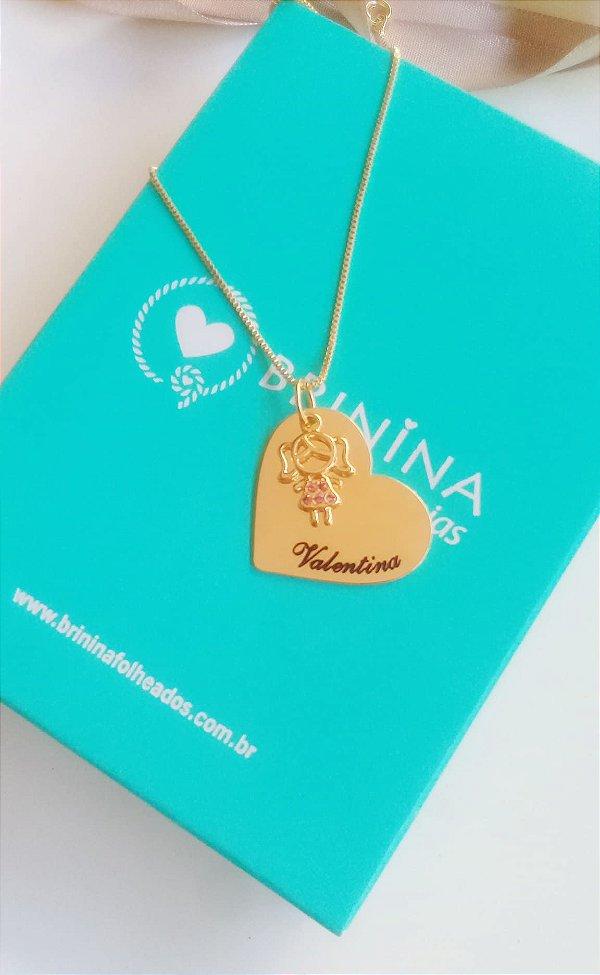 Colar coração com pingente personalizado banhado a ouro 18k  (pz entrega 45 dias)
