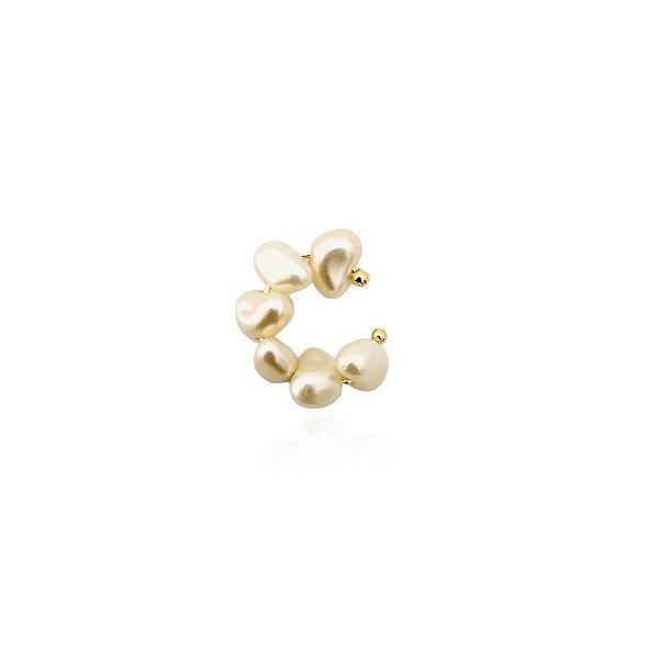 Piercing fake pérola barroca banhada a ouro 18k
