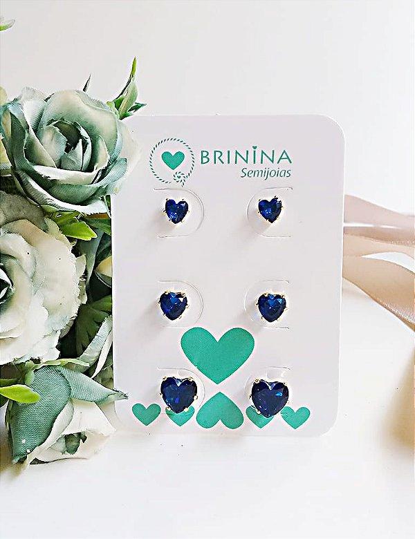 Trio de brincos de coração azul banhados em ouro 18k