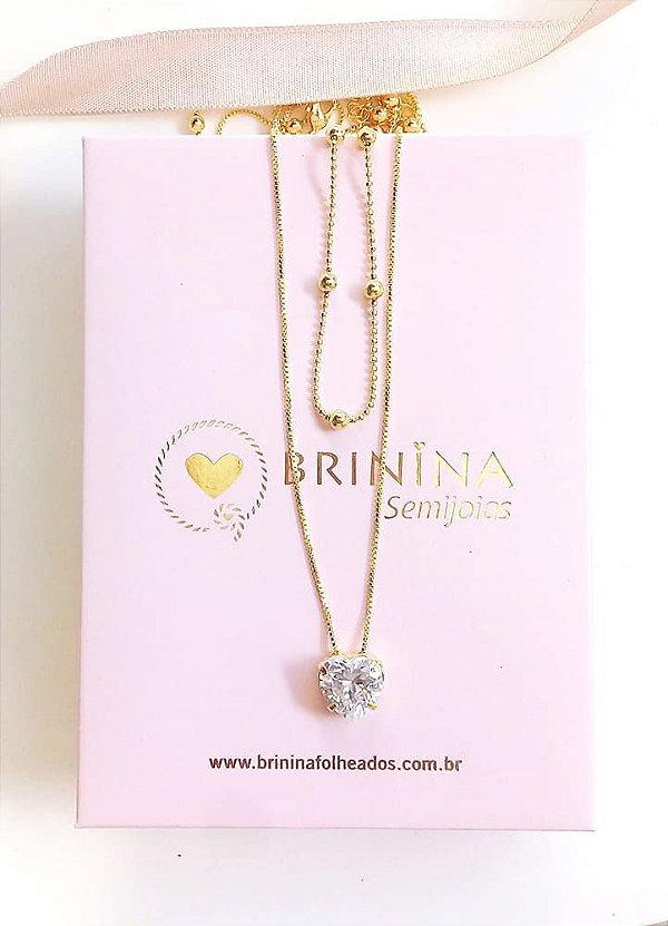 Colar de coração duplo coração cristal e corrente bolinhas banhados em ouro 18k
