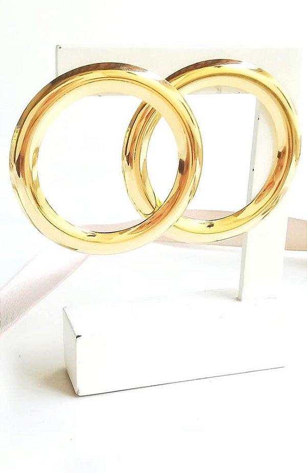 Brinco argola círculo frontal banhada em ouro 18k