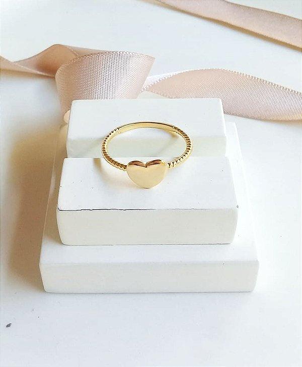 Anel coração liso galático banhado em ouro 18k