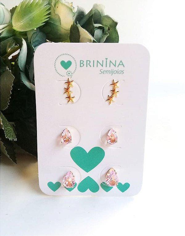 Trio mini ear cuff estrela com duas  gotinhas rosa cristal banhado em ouro 18k