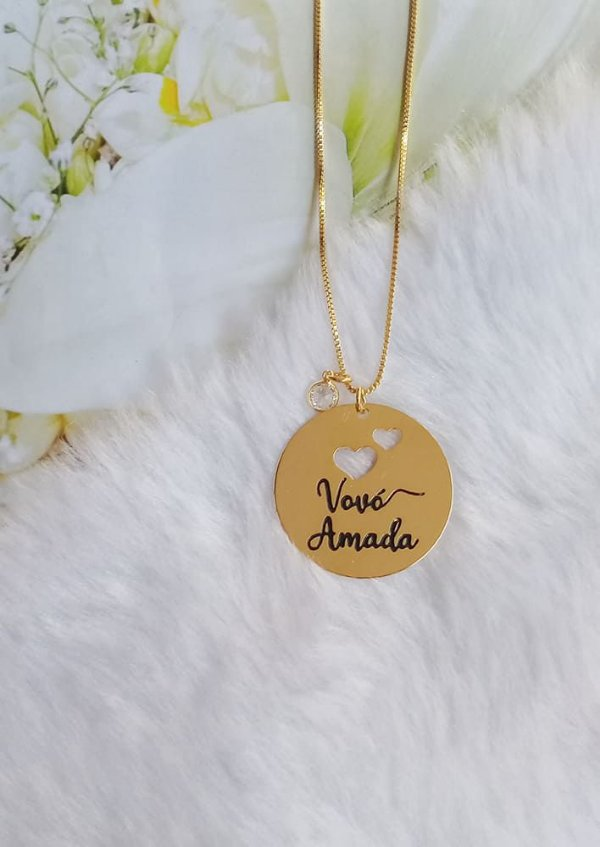 Colar redondo Vovó Amada personalizado com ponto de luz banhado em ouro 18k