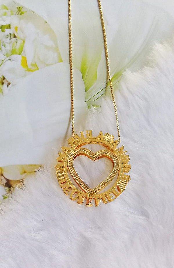 Colar mandala dupla coração banhada em ouro 18k (pz entrega 45 dias úteis)