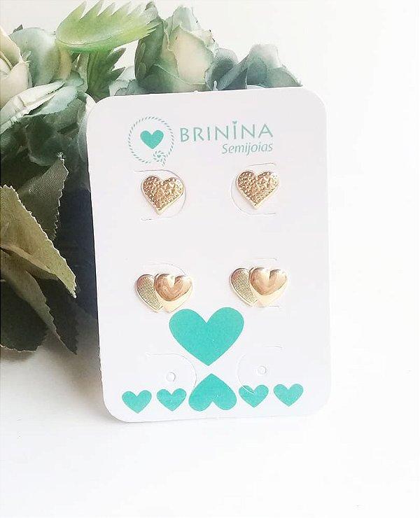 Kit brincos coração duplo e coração frisado banhados em ouro 18k
